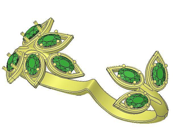Custom Leaf Ring Computer Aided Design