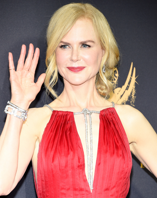 Nicole Kidman hit the carpet in over $2 million worth of Harry Winston jewels including a 35.16-carat diamond links bracelet set in platinum and 13.77-carat pear-shaped drop earrings. She also wore a 1956 vintage Omega timepiece as an ambassador for the brand.