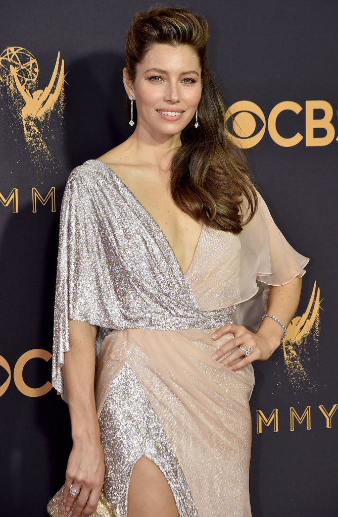 Actress Jessica Biel added even more sparkle to her  gilttering, draped Ralph & Russo gown via Forevermark diamonds, including 18.61-carat long drop diamond earrings, a 13.78-carat cushion diamond bracelet, and diamond rings weighing in at close to 10 carats.