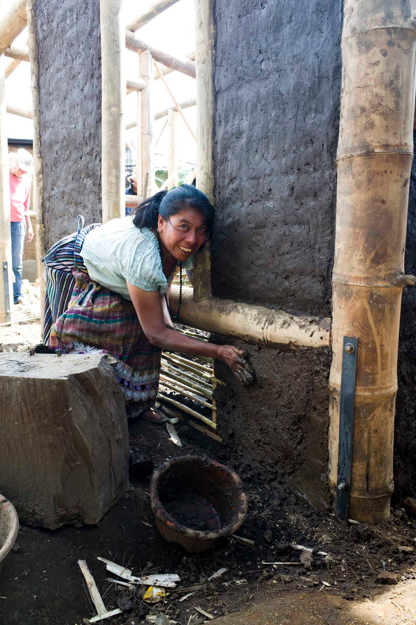 Concepcion builds her bajareque home, San Pablo La Laguna