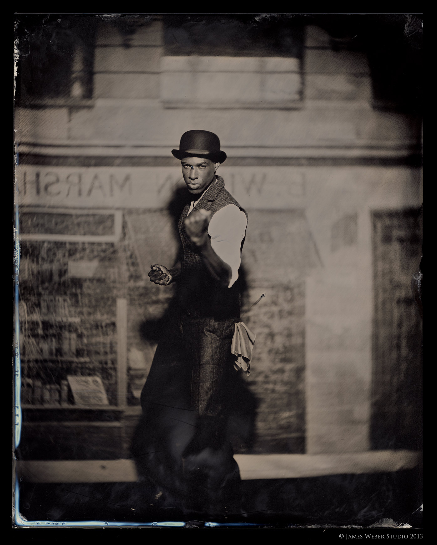 "Model:  Korey @ RED NYC Outfit by David Hart, Vintage Bowler Hat 8""x10"" on Black Aluminum.  © James Weber"