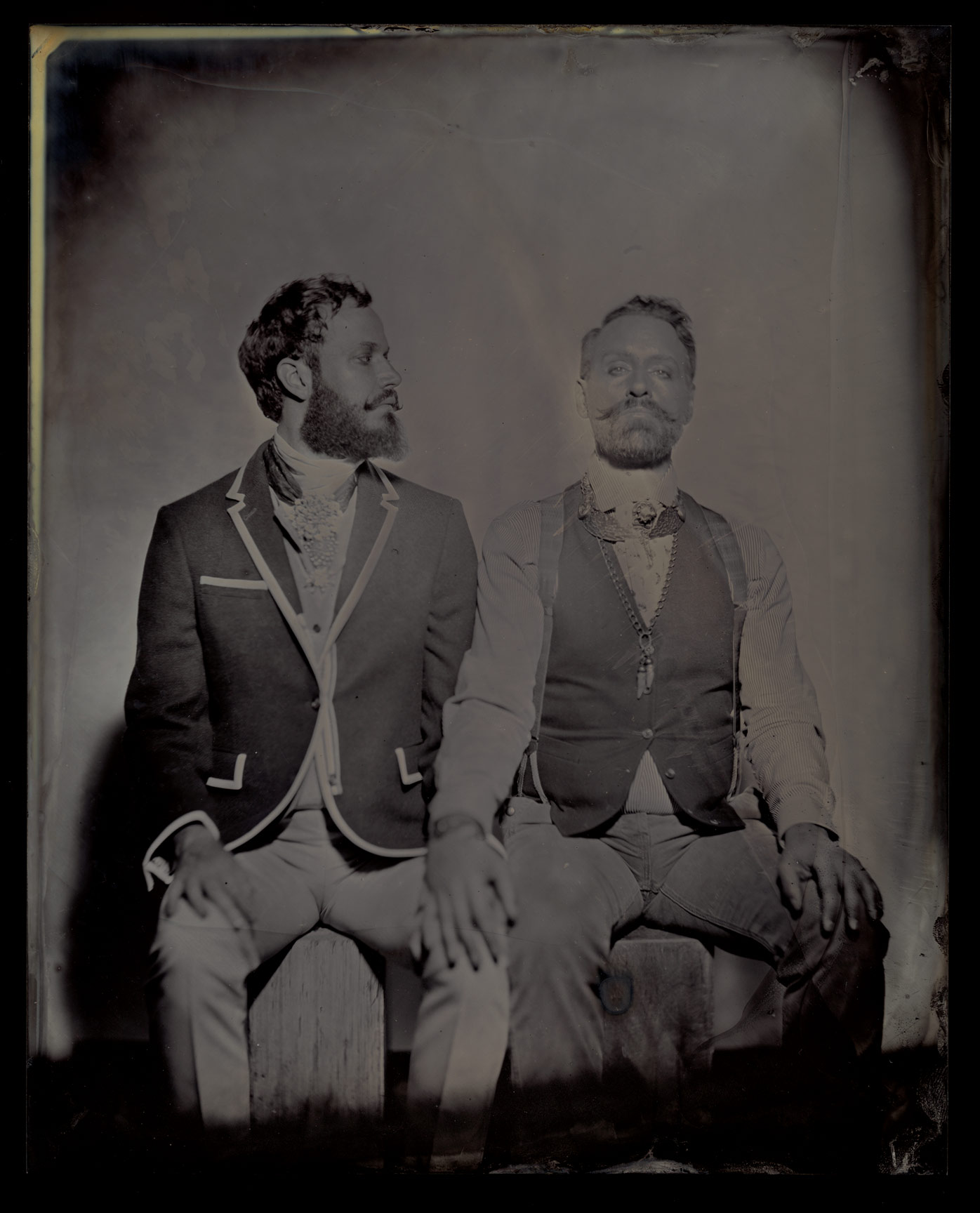 "Adam and Jon, 8""x10"" on Black Aluminum."