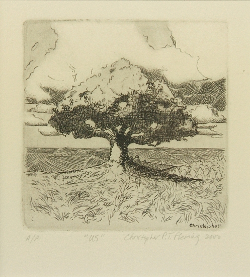 "US    Etching, Signed ( l.r. ) ""Christopher P.T. Fleming 2000, A/P""  11 1/4"" x 11 1/4"" Frame O.D.    SOLD"