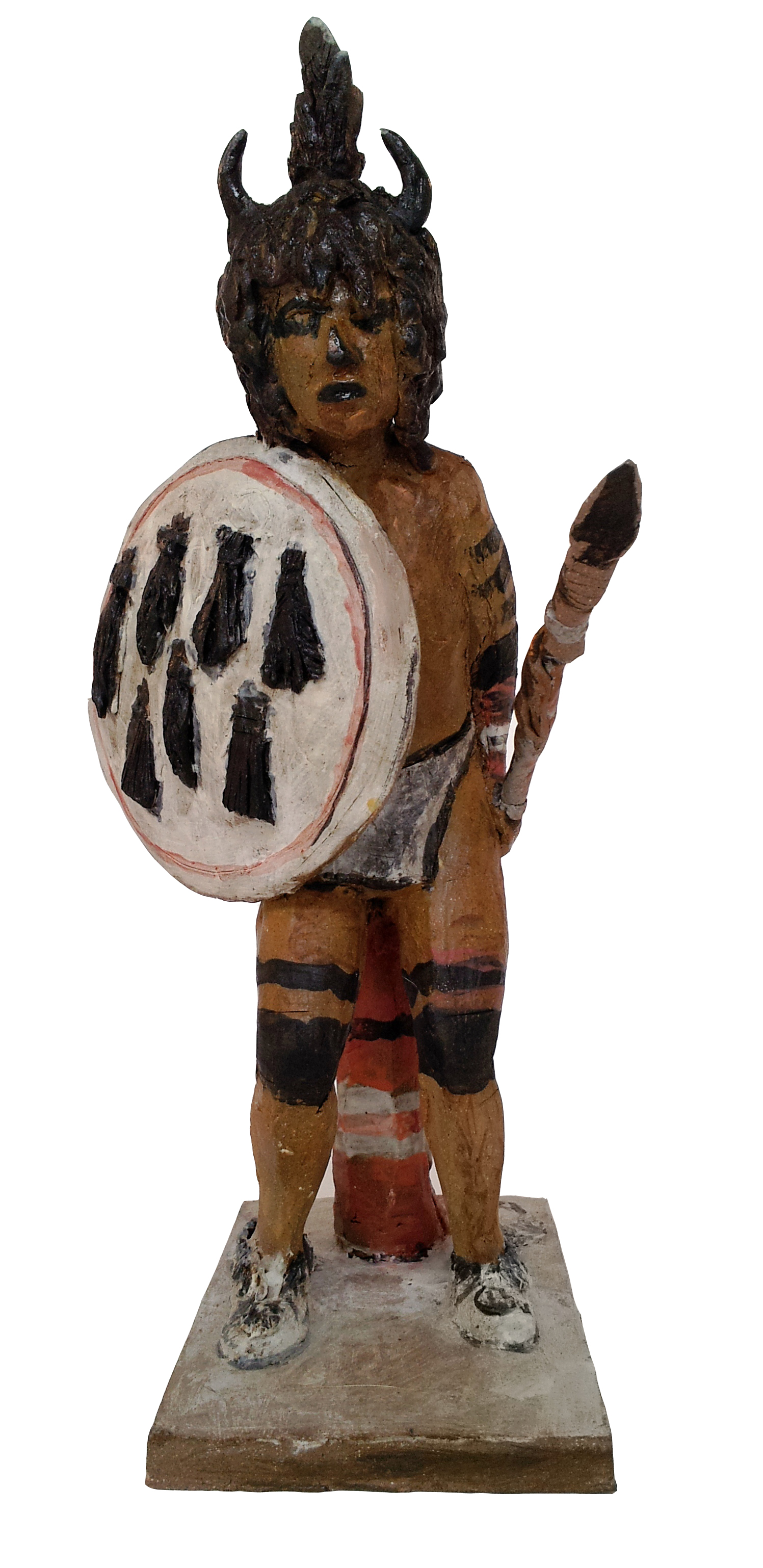 "Buffalo Dancer    Glazed Ceramic  Approx. Size 8"" (L) x 4"" (W) x 11"" (H)    $275"