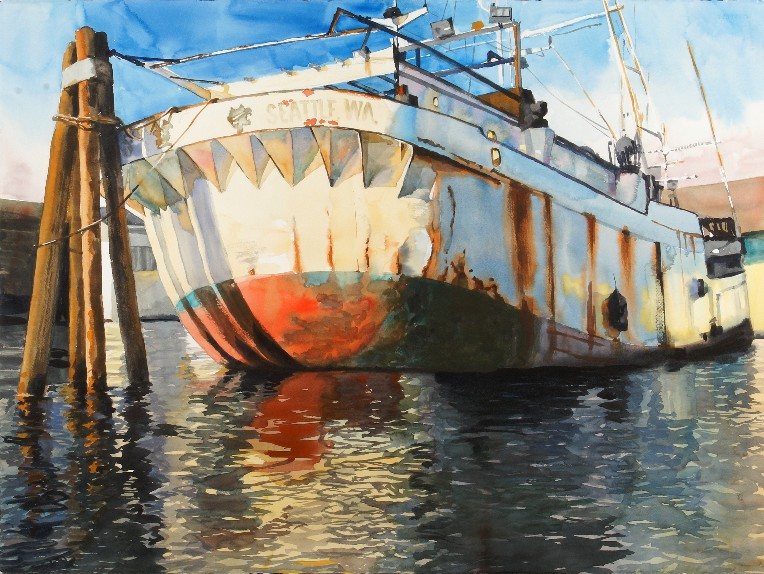 """The Golden West    Watercolor on Paper ( Framed )  22"""" x 30"""" / Approx. Frame O.D.   SOLD"""