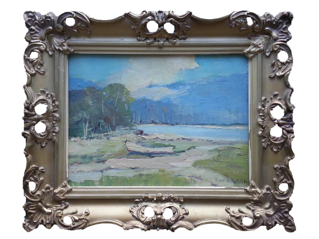 "Lake Scene    Oil on Panel, Signed ( l.r. ) ""Emil A. Kessler""  9"" x 12"" / 13 1/2"" x 16 1/2"" Framed ( Period Frame )    SOLD"