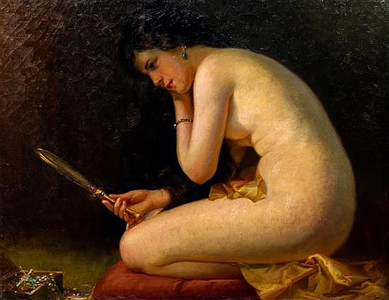 """Nude with a Hand Mirror    Oil on Canvas, Signed ( l.r. ) """"Jos. Tomanek""""  32"""" x 38"""" / 38"""" x 44"""" Framed ( Original Period Frame )    Price Available Upon Request"""