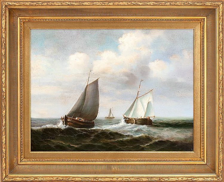 """Three European Sailing Vessels   Oil on Canvas, Signed ( l.l. ) by Untraced Artist """"Sanders""""  18"""" x 24"""" / 26"""" x 32"""" Overall    SOLD"""