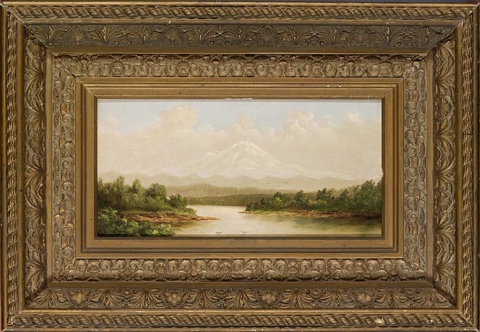 """Mt. Rainier    Oil on Academy Board, Signed """"Sam Colman"""" and Titled """"Mt. Rainier '86"""" on Verso  6 3/8"""" x 12 3/8"""", Antique Frame    Price Available Upon Request    A significant landscape painter of the second generation of Hudson River School painters, Samuel Colman traveled widely and eventually went far beyond the Hudson River for subject matter. He created many large canvases of European, United States, Canadian, and Mexican subjects, especially scenes along the Hudson River and the White Mountains of New Hampshire. He also traveled to North Africa in the 1870s, and one of his most impressive works,  The Moorish Mosque of Sidi Halou, Tlemcen, Algeria  (1875) is in the Edna Barnes Solomon collection of the New York Public Library.  He was a full member of the National Academy of Design and lived long enough to see attention to his work eclipsed by that given to modernism. He was a key person in establishing watercolor as an independent medium that was good for more than just sketching.  Colman was born and raised in Portland, Maine, and early moved to New York City, where his father, a publisher and fine-art books dealer, introduced him to many of the leading artists and writers of the time. He studied with Asher B. Durand, a leader of the Hudson River School of painters, and by the time he was eighteen was exhibiting at the National Academy of Design and by age twenty-two was elected an Associate.  He served as one of the founders and first president of the American Society of Watercolor Painters, founded in 1866, and his watercolors were painted in a much tighter manner than his oils.  He and Thomas Moran are considered the two most important 19th-century painters to visit Arizona where Colman did panoramic views including the Grand Canyon (1882). They were some of the few Hudson River painters that ever went West. Colman first went to the West in 1871 and painted in Utah and Wyoming, and he also did numerous Oregon Trail depictions. One of his most noted is  Sh"""