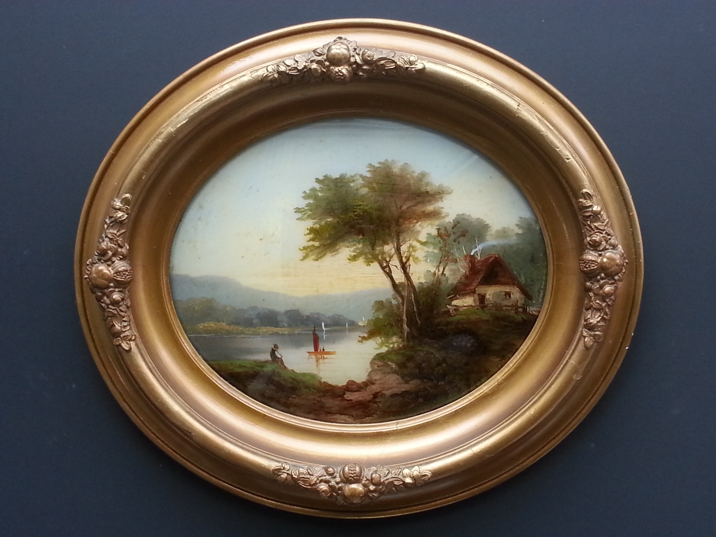 "Lakeside Respite    Oil on Glass, Signed on Verso "" J. F. Cropsey""  11"" x 16"" / 15 1/2"" x 20 1/2"" Framed ( Original Period Frame )    Price Available Upon Request"