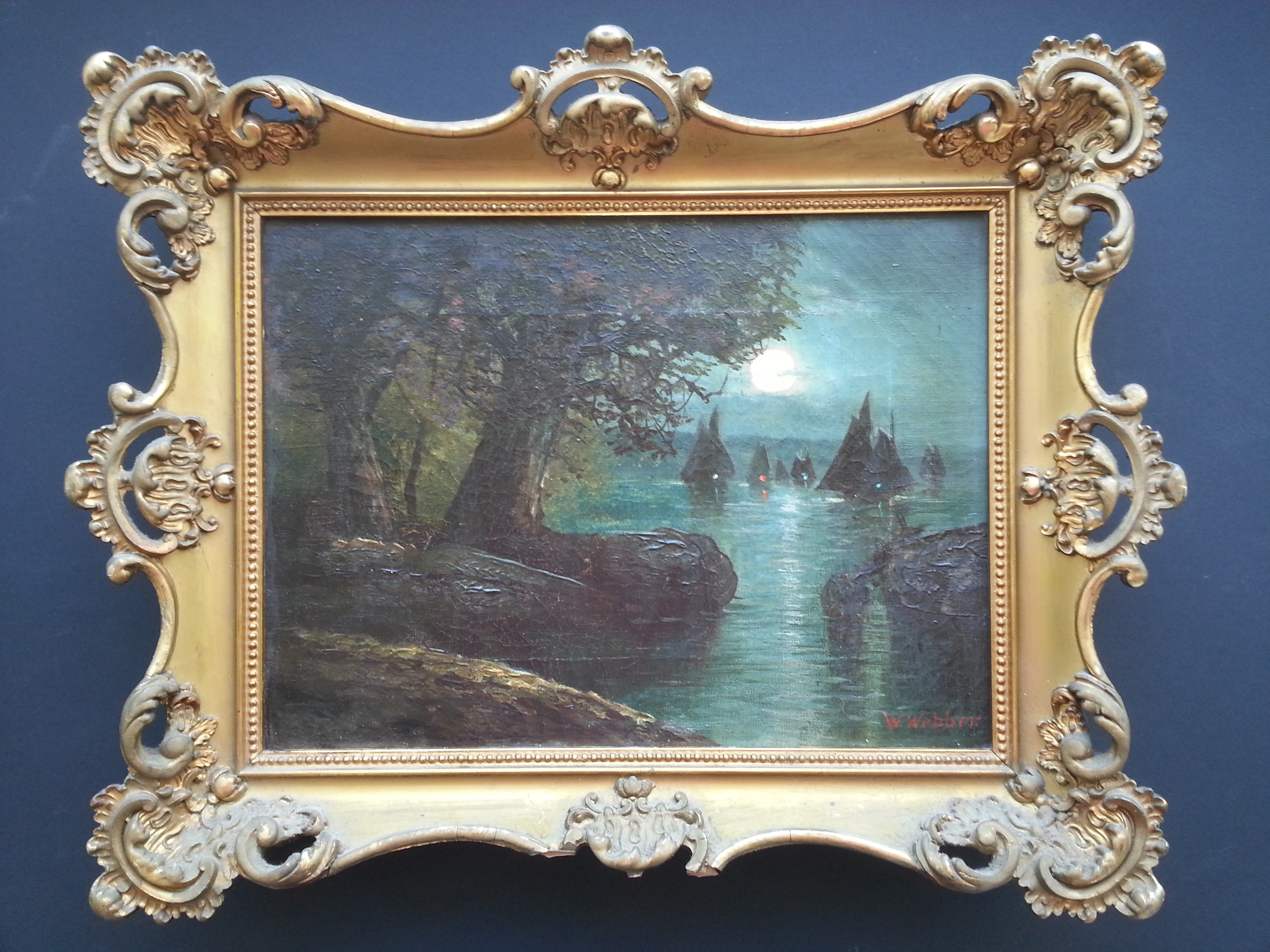 """Sailing Under Moonlight    Oil on Canvas, Signed (l.r.) """"W. Webber""""  9"""" x 12"""" / 13"""" x 16"""" Framed ( Original Period Frame )    PriceAvailable Upon Request"""