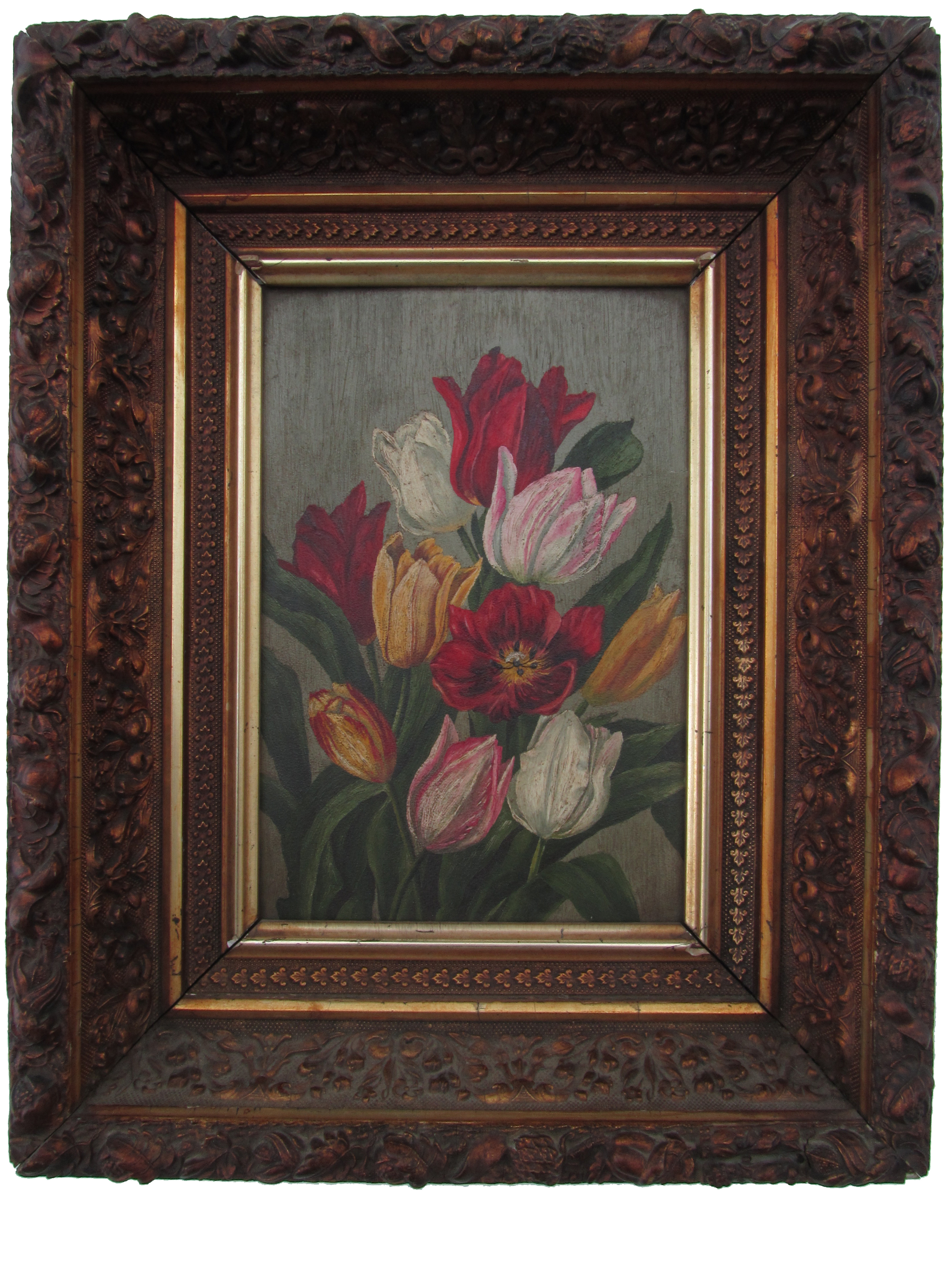 "Still Life with Tulips    Oil on Panel, Unsigned  11"" x 7 1/2"" / 16 1/2"" x 13"" Framed ( Original Period Frame )    Price Available Upon Request"