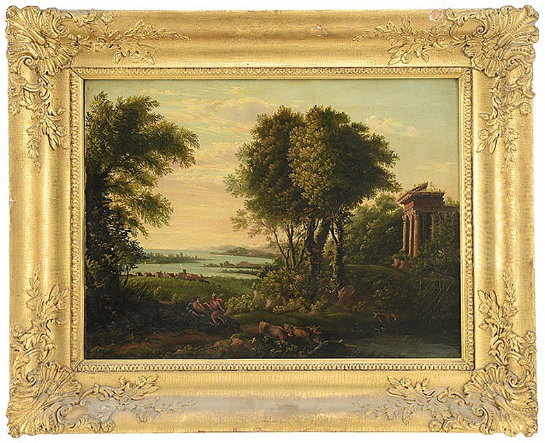 "Arcadian Scene with Ruins and Gods    Oil on Canvas, Unsigned  18"" x 24"" / 26 3/4"" x 32 3/4"" Framed ( 19th Century Frame, as Identified on Fragmentary Period Labels on Verso )    Price Available Upon Request    Provenance: The Estate of Anthony M. Kurland Jr. of Maine. Archaeologist with degree from Yale and PhD from Harvard. Purchased from Kaja Veilleux, Newcastle, ME (1995)"