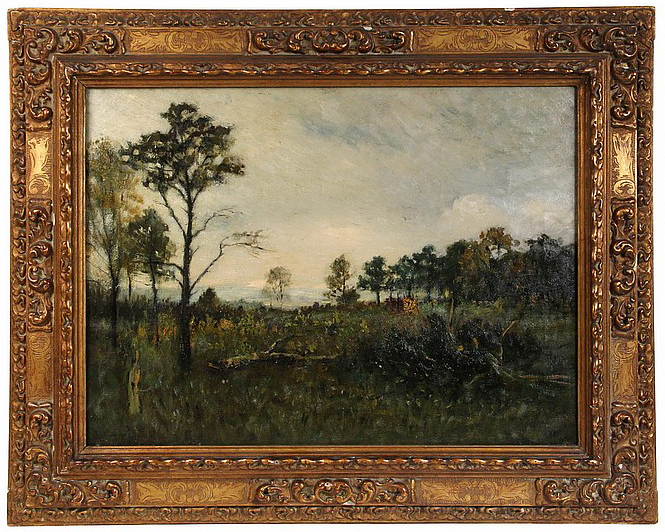 """Deadfall at Treeline    Oil on Canvas, Signed (l.l.) """"Geo H Bogert""""  30"""" x 40"""" Framed (Original Period Frame )    Price Available Upon Request    Born in New York City, George Henry Bogert became known for landscapes, seascapes of Venice and urban subjects and is especially aligned with the style of Tonalism* and the Barbizon School* of painting. In his signature work, he used """"cool blue tones to achieve blurred form and soft half-light effects, further accentuated by the application of dense impasto."""" (Zellman 385). Much of this work seemed related to the popular turn-of-the-century soft focus photography.  In the early 1880s, he studied at the National Academy of Design* and then went to Paris where his teachers were Puvis de Chavannes, Raphael Collin and Aime Morot. From 1884 to 1888, he spent four years in Europe, primarily in Paris with teachers including Puvis de Chavannes and Aime Morot. Returning to the United States, he was in New York as a student of Thomas Eakins.  In the 1890s, he returned to Europe where he traveled widely for subject matter including to Venice and the Isle of Wight. In Northern France, he came under the influence of Eugene Boudin and his plein-air landscape painting methods.  Bogert received numerous awards including the First Hallgarten Prize by the National Academy of Design in 1899 to which he was elected to membership that year.  Little is known of him after 1900, except that he returned to Europe and finally settled at the artists' colony of Old Lyme, Connecticut*.   Source: Michael David Zellman,  300 Years of American Art   Museums  (11) :George Bogert    Dallas Museum of Art    Heckscher Museum of Art    Metropolitan Museum of Art    Michelson Museum of Art    Museum of Fine Arts, Boston    Pennsylvania Academy of the Fine Arts    Sheldon Museum of Art    Telfair Museum of Art    The Brooklyn Museum of Art    The Hickory Museum of Art    The Parthenon"""