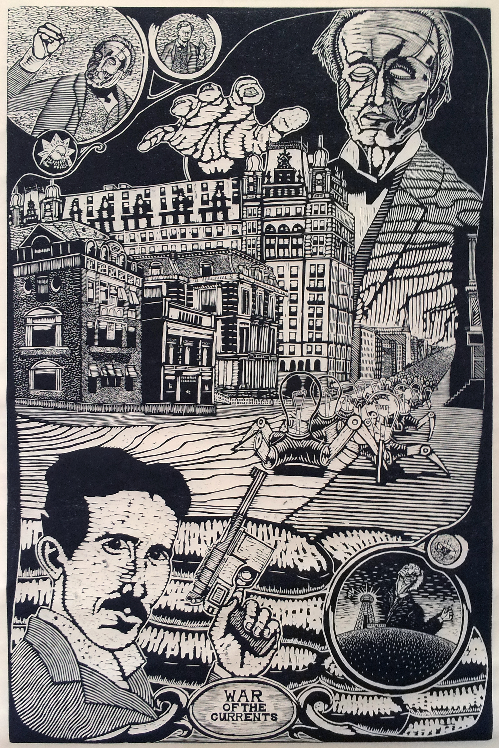 Bradley Taylor ( American )    War of The Currents   Woodcut on Paper ( Framed )    $2,400 ( Framed )