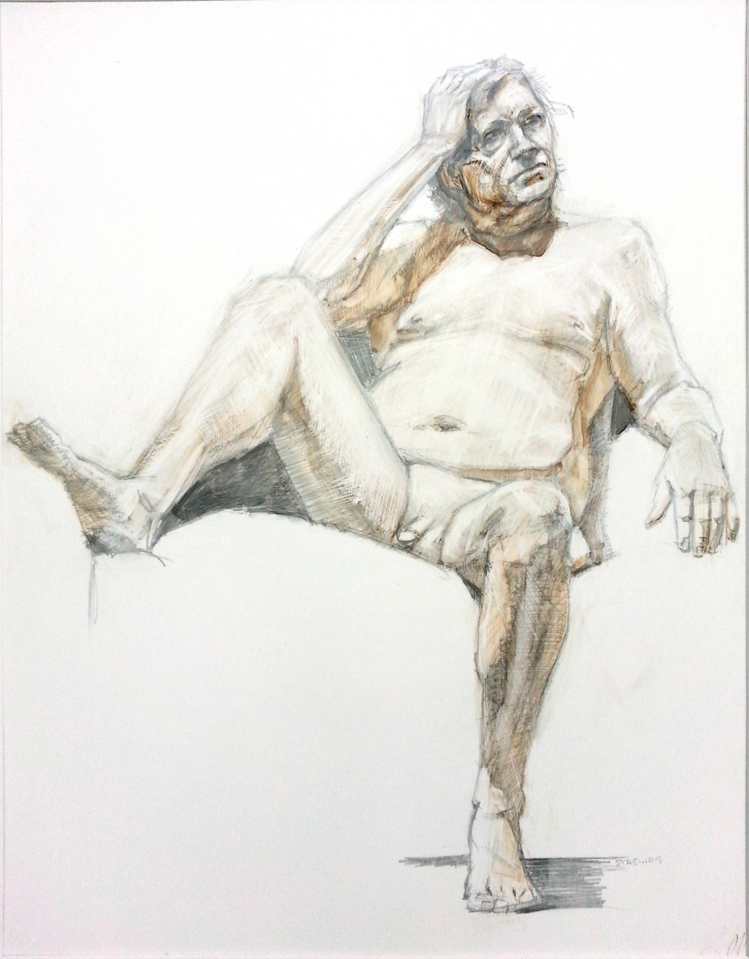 Michael Stasinos ( American )   Seated Male Nude  Ink on Toned Scratchboard ( Unframed )    $250