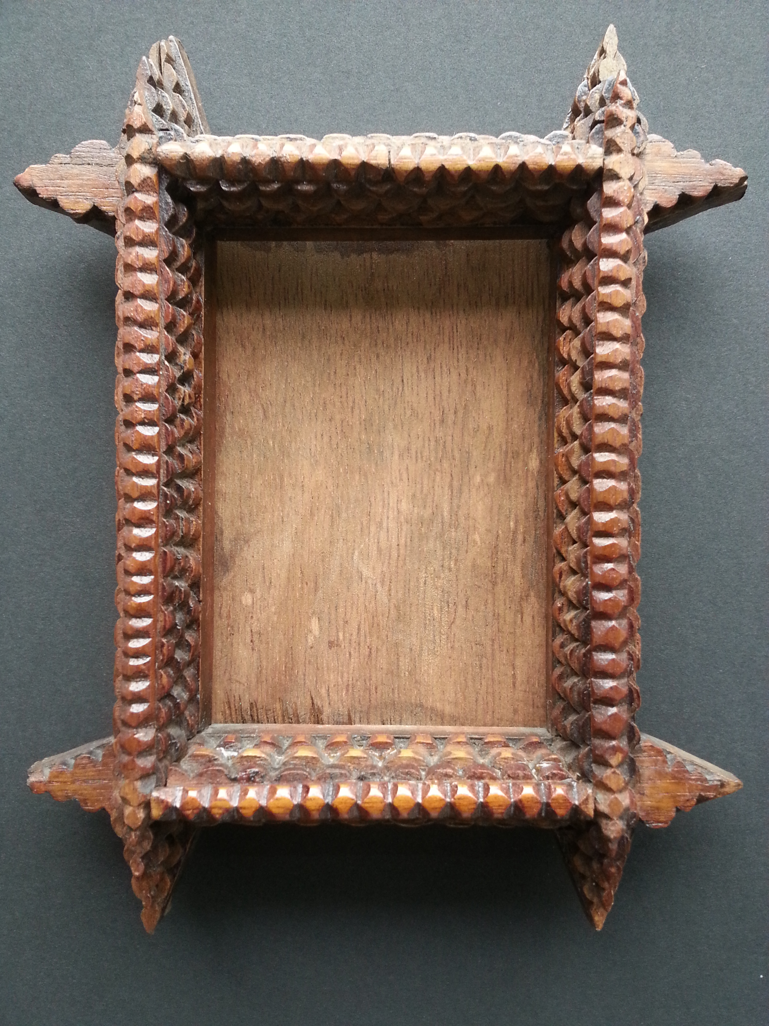 """Tramp Art Frame     Exact Frame R.S. 5"""" x 3 1/2"""" / Approx. Frame O.D.   8 1/2"""" x 7""""    $220     Available"""