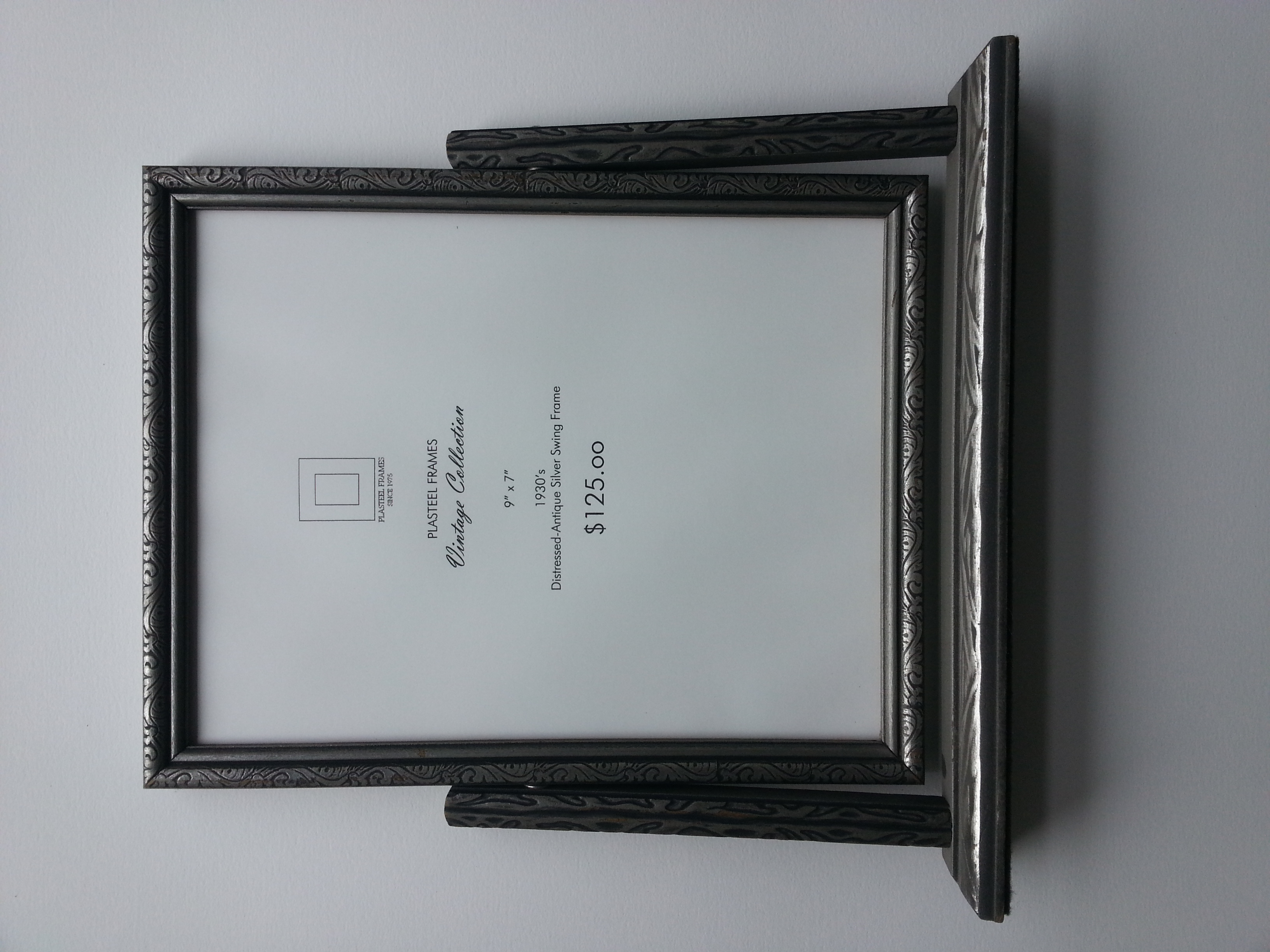 """Antique Silver Pressed Swing Frame, 1930's     Frame R.S. 9"""" x 7""""    $125     Available"""