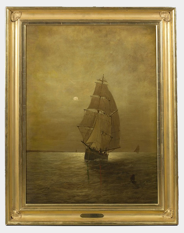 """Moonlight, Long Island Sound    Oil on Canvas, Signed (l.r.) """"Wesley Webber""""  36"""" x 26 1/4"""" / 42 3/4"""" x 33"""" Framed    PriceAvailable Upon Request"""