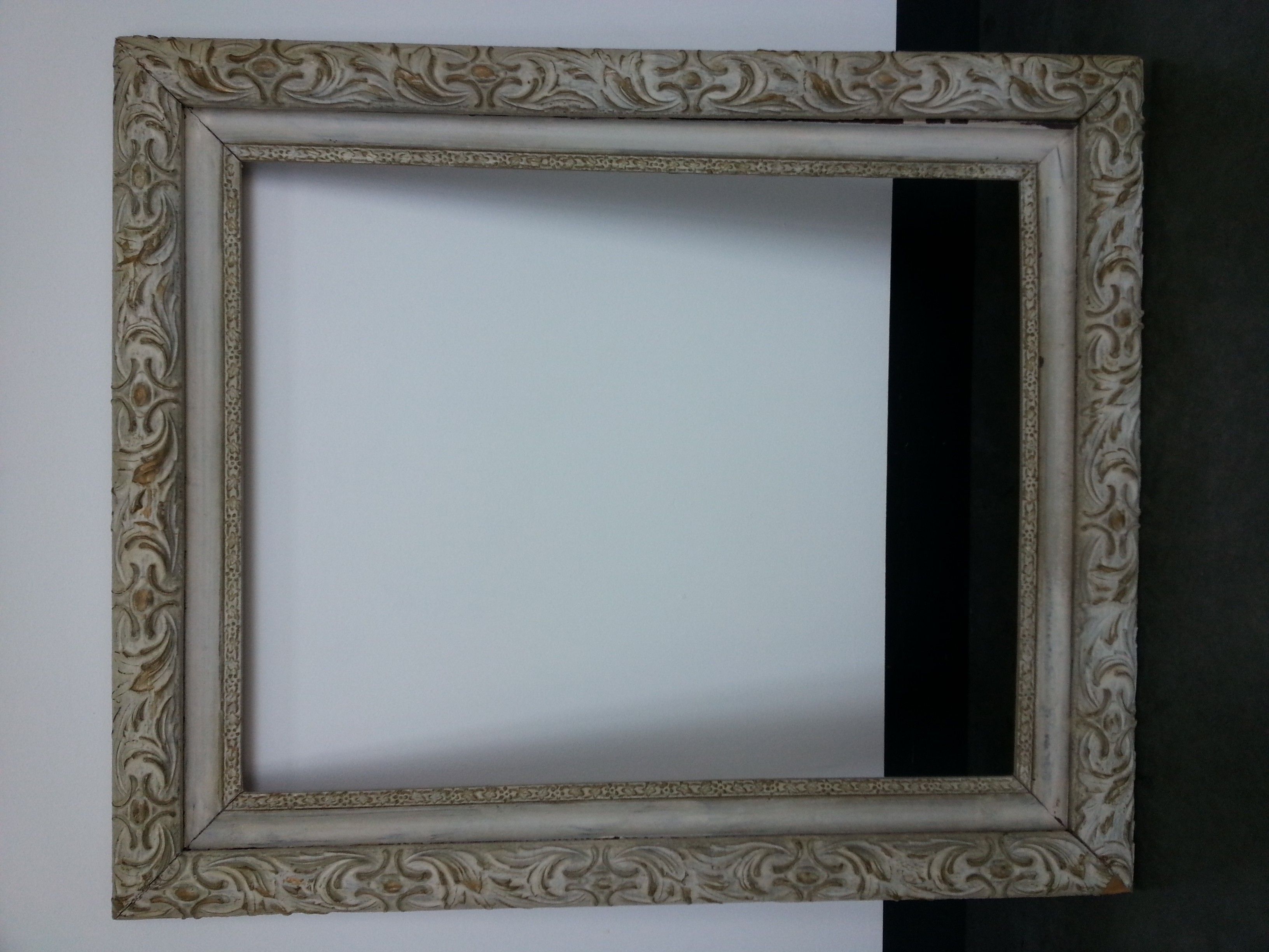 """Vintage Heavy Distressed / White Wash Finish      Frame R.S. 16"""" x 20"""" / Frame O.D. 21"""" x 25""""    $125     Available"""