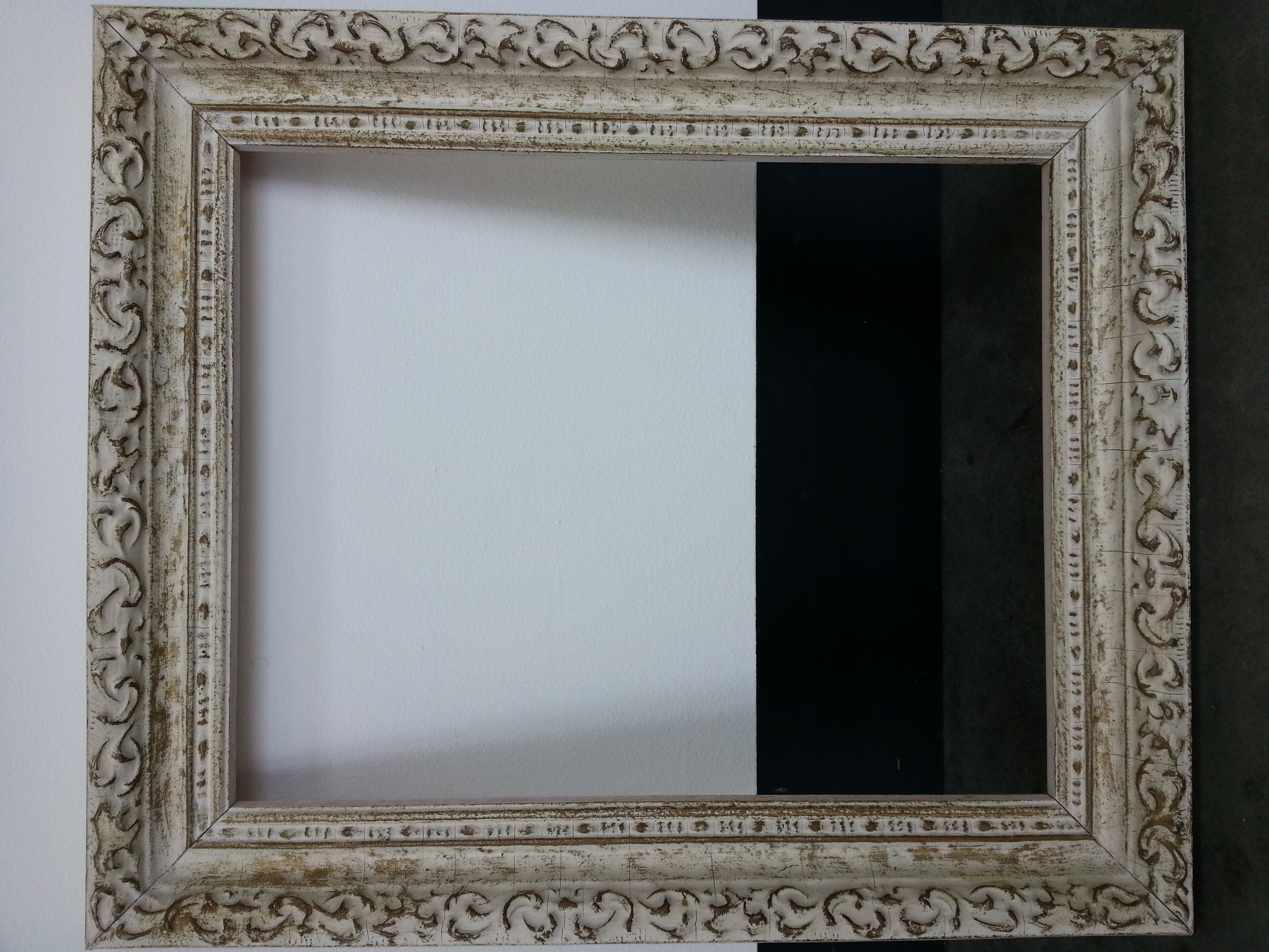 """Vintage Distressed / White Wash Finish     Frame R.S. 8"""" x 10"""" / Frame O.D. 10 1/4"""" x 12 1/4""""    $80     Available"""