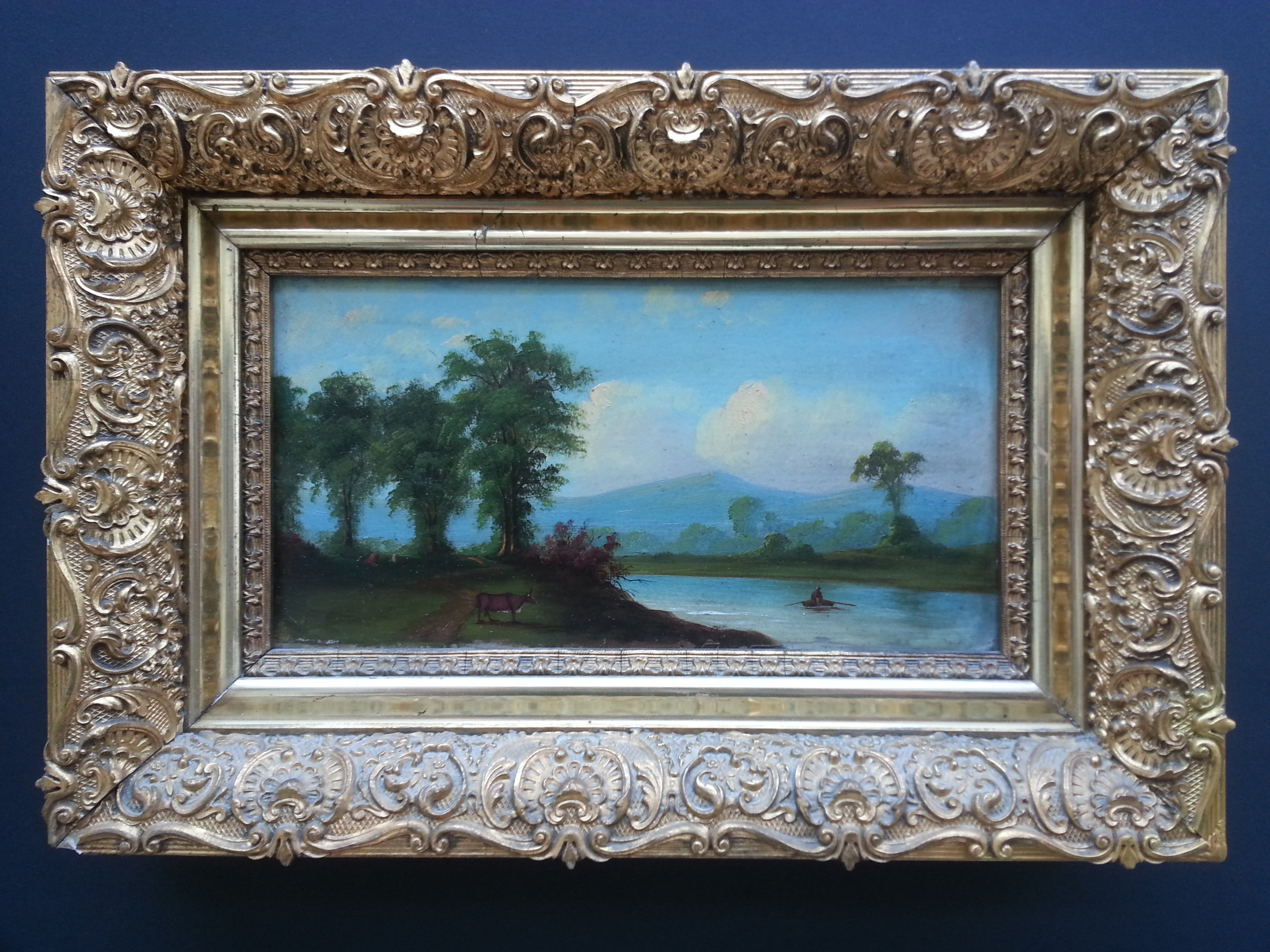 """River View     Oil on Panel  5 3/4"""" x 10 3/4"""" / 10"""" x 15"""" Framed ( Original Period Frame )   SOLD"""