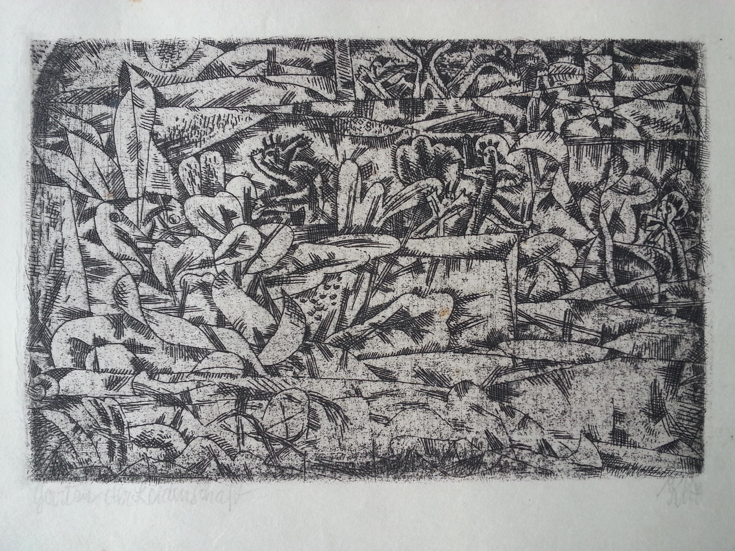 """Paul Klee ( German, 1879 - 1940 )   """"Garten der Leidenschaft"""" / """"Garden of Pleasure"""" ( 1913 )  Original Hand Pulled / Artist Signed Etching  Approx. Image Size 3 1/2"""" x 5 1/2"""" / Frame O.D. 12 7/16"""" x 14 7/8""""  Titled by the Artist ( l.l. ), Signed """"Klee"""" ( l.r. )    $6,700 ( Framed )"""