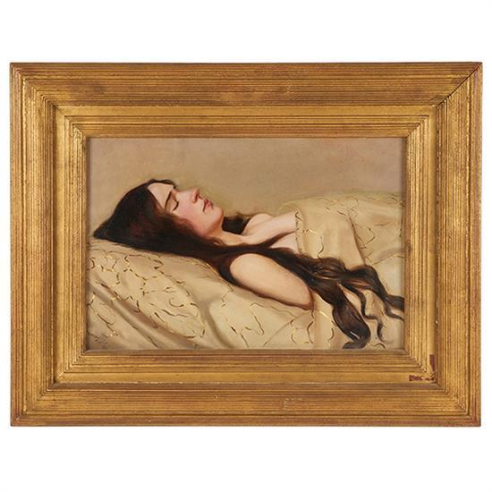 "Ludvig Find ( Danish, 1869 - 1945 )     ""Sleeping Woman""  ( 1904 )    Oil on Wood, Signed and Dated (l.l.) ""Find.L 1904"", Antique Frame    12"" x 18"" / 19 1/2"" x 25 1/2"" Overall    Condition: Excellent    Provenance: Matthew Marks Gallery, New York, Private Collection Chicago    Price: Available Upon Request"