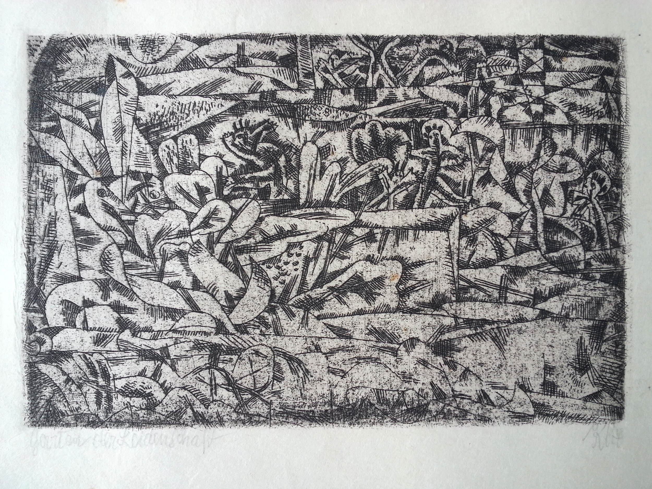 """Paul Klee ( Swiss - German, 1879 - 1940 )  """"Garten der Leidenschaft"""" / """"Garden of Pleasure"""" ( 1913 )  Original Hand Pulled Etching, Titled (l.l.) and Signed """"Klee"""" (l.r.)  Approx. Image Size 3 1/2"""" x 5 1/2"""" /Frame O.D. 12 7/16"""" x 14 7/8""""  $6,700  A Swiss-born painter and graphic artist, Paul Klee was born on December 18, 1879, in Munchenbuchsee, Switzerland, into a family of musicians. His personal, often gently humorous works are filled with allusions to dreams, music, and poetry, and are difficult to classify. Primitive art, surrealism, cubism, and children's art all seem blended into his small-scale, delicate paintings, watercolors, and drawings.  Klee grew up in a musical family and was himself a violinist. His childhood love of music was always to remain important in his life and work. From 1898 to 1901, Klee studied in Munich, first with Heinrich Knirr, then at the Kunstakademie under Franz von Stuck. Upon completing his schooling, he traveled to Italy in the first of a series of trips abroad that nourished his visual sensibilities. While in Italy (1901-02), he responded enthusiastically to Early Christian and Byzantine art. He settled in Bern in 1902.  Klee's early works are mostly etchings and pen-and-ink drawings. These combine satirical, grotesque, and surreal elements, and some reveal the influence of Francisco de Goya and James Ensor, both of whom Klee admired. Two of his best-known etchings, dating from 1903, are 'Virgin in a Tree' and 'Two Men Meet, Each Believing the Other to Be of Higher Rank'. Such peculiar, evocative titles are characteristic of Klee, and give his works an added dimension of meaning.  After his marriage in 1906 to the pianist Lili Stumpf, Klee settled in Munich, then an important center for avant-garde art. That same year he exhibited his etchings for the first time. His friendship with the painters Wassily Kandinsky and August Macke prompted him to join Der Blaue Reiter (The Blue Rider), an expressionist group that contributed muc"""