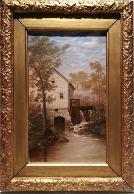 "The Mill     Oil on Canvas, Signed l.r. ""Wm M. Davis""  12"" x 7"" / 16 1/2"" x 11 1/2"" Framed ( Original Period Frame )    Price Available Upon Request    Born in Setauket, New York, William Davis was a painter of trompe l'oeil still life, genre, and landscapes and was primarily self taught.  He trained as a boat builder in Port Jefferson, Long Island.  Davis achieved national recognition in 1962 for three paintings based on the Civil War.  The Neglected Picture , a trompe l'oeil image of President Jefferson Davis in a frame behind broken glass brought him great fame.  The painting was widely reproduced in print and postcard form.  In 1868, Davis exhibited still-life paintings at the National Academy of Design.  From 1863-1871, he exhibited at the Brooklyn Art Association.  In 1872, he moved to Long Island and never again exhibited in New York, possibly because some of his painting was politically controversial.  He associated with artist William Sidney Mount.   Source: Eva Greguski, ""William Moore Davis"",  American Art Review , 12/2002, p. 118  Museums  (2) :  William Davis   Butler Institute of American Art    The Long Island Museum of American Art, History and Carriages"