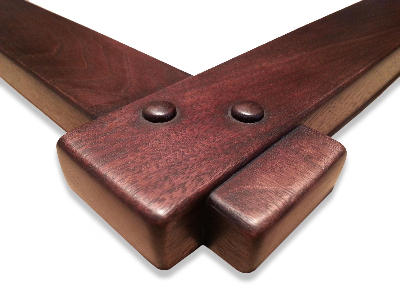 """1 3/4"""" Walnut, Cross Corner Lap Joint, ( 2 ) Peg Corners    1 3/4"""" (W) x 3/4"""" (D) DEEP O.D."""
