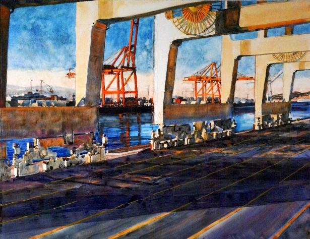 "Load Bearing    U.V. Varnished Watercolor on Paper, Mounted to Panel ( Framed / Floater Frame )  20"" x 26"" / Approx. Frame O.D. 21"" x 27""    $1,000"
