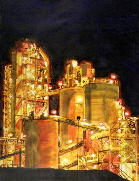 "Cement Castles    U.V. Varnished Watercolor on Paper, Mounted to Panel ( Framed / Floater Frame )  26"" x 20"" / Approx. Frame O.D. 27"" x 21""    $1,000"