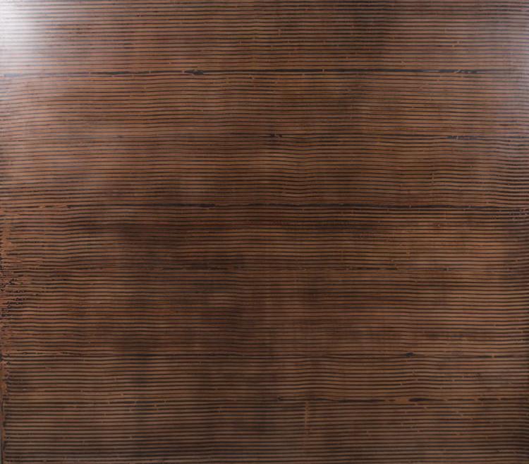 "Kris Cox ( American CA / CO b. 1951 )  Ebony Curtain / Horizontal (2004)  Pigmented Wood Putty, Asphalt Emulsion, Acrylic on Wood Panel  64"" (H) x 72"" (W) x 2"" (D)  $25,000"