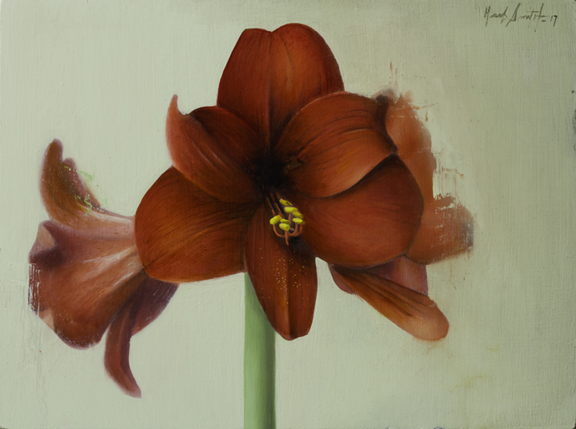 "Herb Smith (American)    Amaryllis   (2017)  Oil on Wood  9"" x 12""   SOLD"