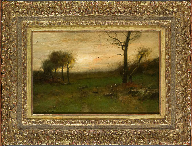 """Late Afternoon    Oil on Canvas, Signed ( l.l. ) """"John Francis Murphy 93""""  8"""" x 12"""" / 13"""" x 17"""" Framed ( Quality Reproduction Frame )   SOLD    John Francis Murphy is increasingly recognized today as one of the leading American Tonalist painters of the nineteenth and early twentieth centuries. Over a productive career of some fifty years, he developed a highly individual aesthetic that was notable for its expressive and poetic nuance. His art attracted a wide following, and was avidly collected by individuals and museums both during his lifetime and in the period following his death.  Murphy was born in Oswego, New York, near Lake Ontario. With his family he moved to Chicago in 1868, where his father was employed in the shipping industry. In Chicago, Murphy began working as a scene painter in a local theatre and was quickly promoted to lead his co-workers. Largely self-taught, his only training consisted of a few classes at the Chicago Academy of Design. There he became friends with Emil Carlsen and Theodore Robinson, and in 1873, Academy members elected him an Associate; a few weeks later, he became an Academician.  That same year, through private art lessons and sales of his work, Murphy was able to finance a three-month sketching trip to the Adirondack Mountains. He spent most of this time in Keene Valley in Essex County, where he met Winslow Homer. With so many other young painters during this period, Murphy was initially drawn to the descriptive naturalism of the Hudson River school artists. He particularly admired the pictures of William Hart, and his early works suggest the influence of that older painter.  Frustrated with Chicago and the public's tepid support for the visual arts, Murphy moved to New York in 1875. The National Academy of Design accepted one of his paintings for its annual exhibition in 1876. Financial circumstances soon forced the artist to move to Denmark, New Jersey, where he boarded with family friends from Chicago in exchange for helping"""