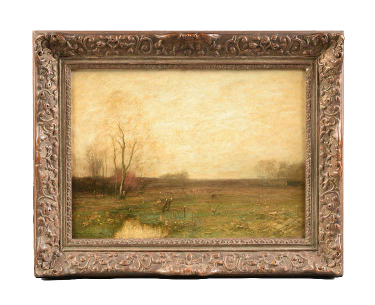 """John Francis Murphy ( American, 1853 - 1921 )     Autumn Field (1900)     Oil on Canvas, Signed and dated ( l.l. ) """"J. Francis Murphy 1900""""    16"""" x 22"""" / 22"""" x 28"""" Overall / Original Period Frame     SOLD     John Francis Murphy's Paintings adorn the walls of America's most prestigious museums. Referred to as the """"American Corot"""" because of the similarity between his style and that of Camille Corot ( French, 1796 - 1875 ), one the the leading French Barbizon Painters, John Francis Murphy is increasingly recognized today as one of the premier American Tonalist Painters of the late 19th and early 20th century. In my opinion, Murphy's work surpasses that of Corot. By comparison, Corot's work seems heavy handed, where Murphy seemed to breathe and delicately float his later applications of paint onto the canvas. This, coupled with his highly developed techniques for laying down a sort of impasto or heavily sculpted """"ground"""" beneath the unifying surface colors, make his work extremely dynamic and highly sought after.   Museums (51 - partial list): John Francis Murphy   View    Ackland Art Museum    Addison Gallery of American Art    Adirondack Museum    Albright-Knox Art Gallery    Art Institute of Chicago    Ball State University Museum of Art    Butler Institute of American Art    Charles Allis Art Museum    Chrysler Museum of Art    Dallas Museum of Art    Flint Institute of Arts    Frederic Remington Art Museum    Freer Gallery of Art    George Walter Vincent Smith Museum    Georgia Museum of Art    Heckscher Museum of Art    Hunter Museum of American Art    Lauren Rogers Museum of Art    Metropolitan Museum of Art    Michele and Donald D'Amour Museum of Fine Arts    Minneapolis Institute of Arts    Museum of Art at Brigham Young University    Museum of Fine Arts, Boston    National Cowboy & Western Heritage Museum    National Gallery of Art, Washington DC    National Museum of American Art-Smithsonian    New Jersey State Museum    Paine Art Center    Parrish Art Mus"""