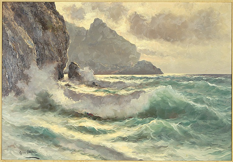 """Guido Odierna (Italian, 1913 - 1991)    Crashing Waves, Capri    Oil on Canvas, Signed ( l.l. ) """"Guido Odierna""""  27 1/2"""" x 39 1/4""""    Price Available Upon Request    Guido Odierna was a noted painter, born November 13th, 1913 in Capri, Italy, known for his seascapes in oil, landscapes, still lifes, botanical, coastal and fishing boat scenes in places such as Capri, Naples, Florence, Rome, the Amalfi coast and Venice to name a few.  Guido studied at the Royal Academy and with the great seascape painter Cavalier Michele Federico (Italian, 1884-1966), and also in the studio of well known artist Konstantin Ivanovich Gorbatov (Russian, 1876-1945) who was one of the outstanding painters of Capri (sometimes listed as Constantin Ivanovich Gorbatoff). Guido loved the sea, and he interpreted and captured Capri with her fierce rocks and seaside cliffs along the translucent sea, the mountains of the Piemonte region (or Piedmont) which starkly rise into the blue sky, the golden glow of Rome and the mother of pearl hues of Venice--all with equal poetic passion. His love of the sea shows in his seascapes where the waters take on their own personalities. The waters of Capri, Trieste, Chioggia and Venice all feature prismatic impressions and sensations within his paintings along with expressed inspiration and fine technique—truly, a master of his palette and brush. His paintings of Capri depict many different areas of the island and made up a large part of his body of work.  Guido lived in Capri and maintained his art gallery there throughout the summer season with his family. During the winters, he maintained his other art gallery in Rome where he displayed and sold his own works along with other artists that he represented. His days were often characterized by taking long early morning walks with his two dogs which he thoroughly loved doing. When in Capri he would often climb down over the rocks to the sea and take in its majestic beauty which """"…explains the underlying inspiration"""
