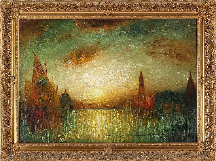 """George Henry Bogert (American, 1864-1944)     """"The Grand Canal, Venice""""     Oil on Canvas, Signed (l.r.) """"Geo H Bogert""""    28"""" x 40""""  /  38 1/4"""" x 50 1/4"""" Overall    Original Period Frame    SOLD"""