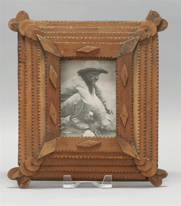 """Man Panning for Gold / Five Layer Tramp Frame    Approx. 13 1/2"""" (H) x 11 1/2"""" (W)    $350"""