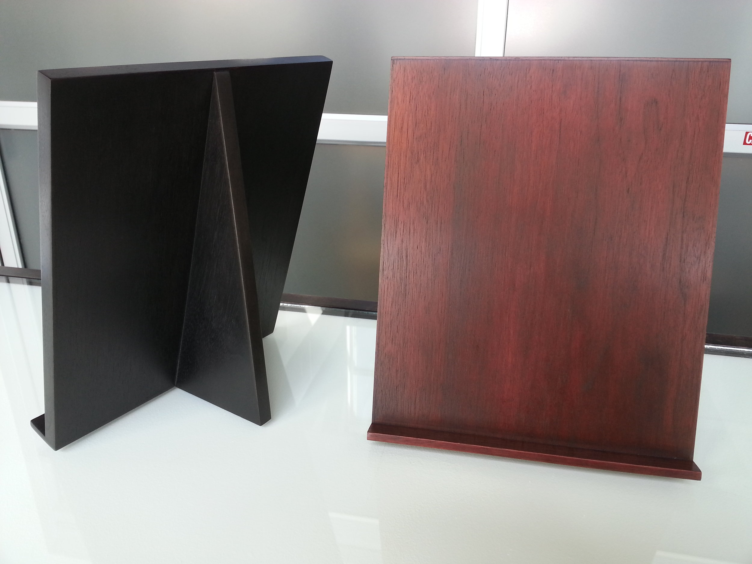 """12"""" x 9"""" Hancrafted Walnut Ply Display Easels  Sale Price $135 each"""