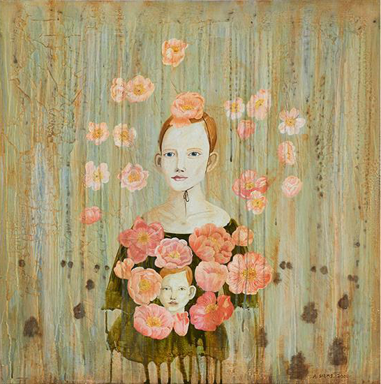 "Anne Siems (German, b. 1965)     Orange Blossoms (2005)  Oil on Panel  30"" x 30""  Price Available Upon Request"