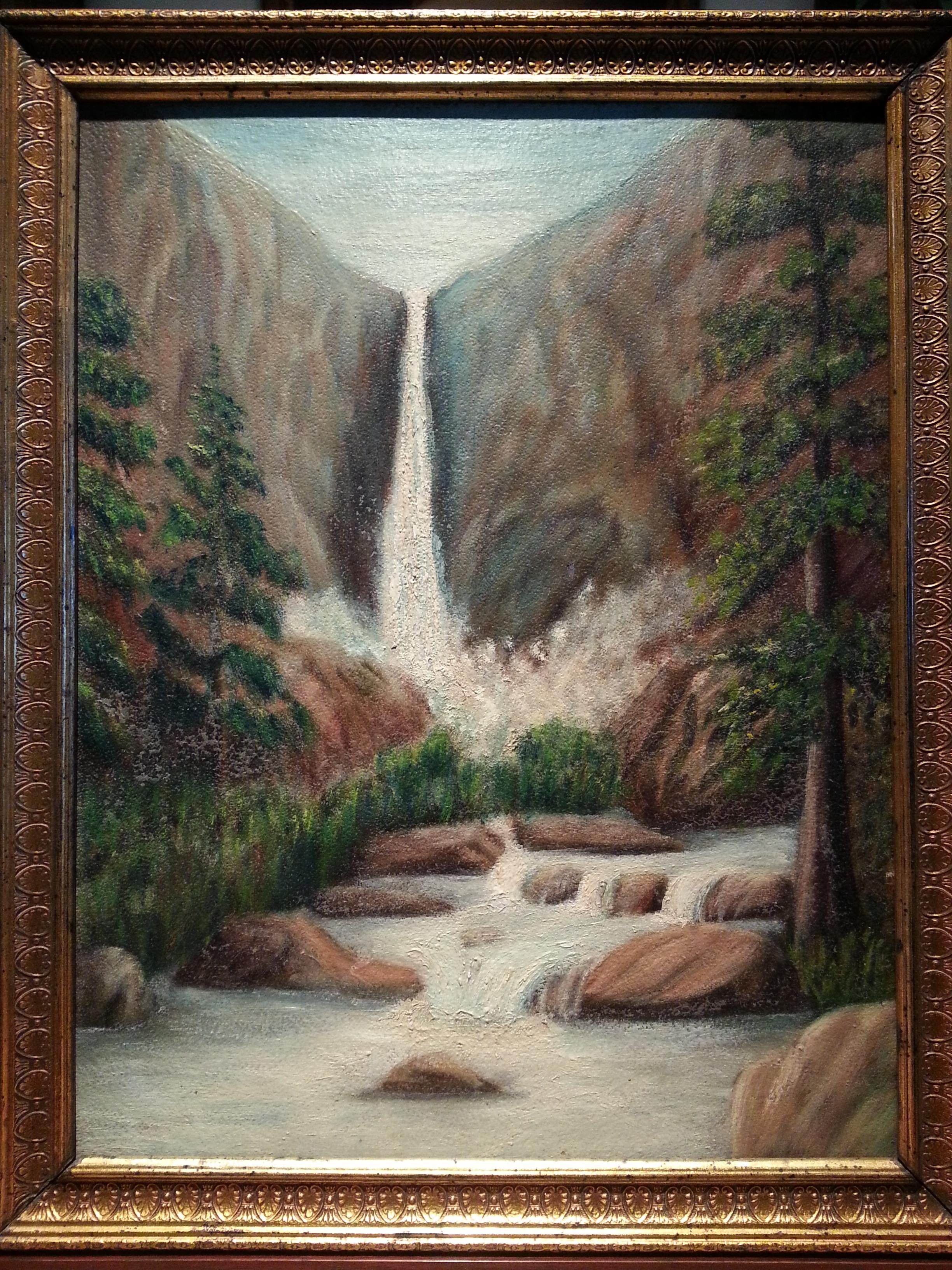 "Primitive Antique Oil Painting / Antique Frame    18 3/4"" x 15"" Frame O.D.    $450"