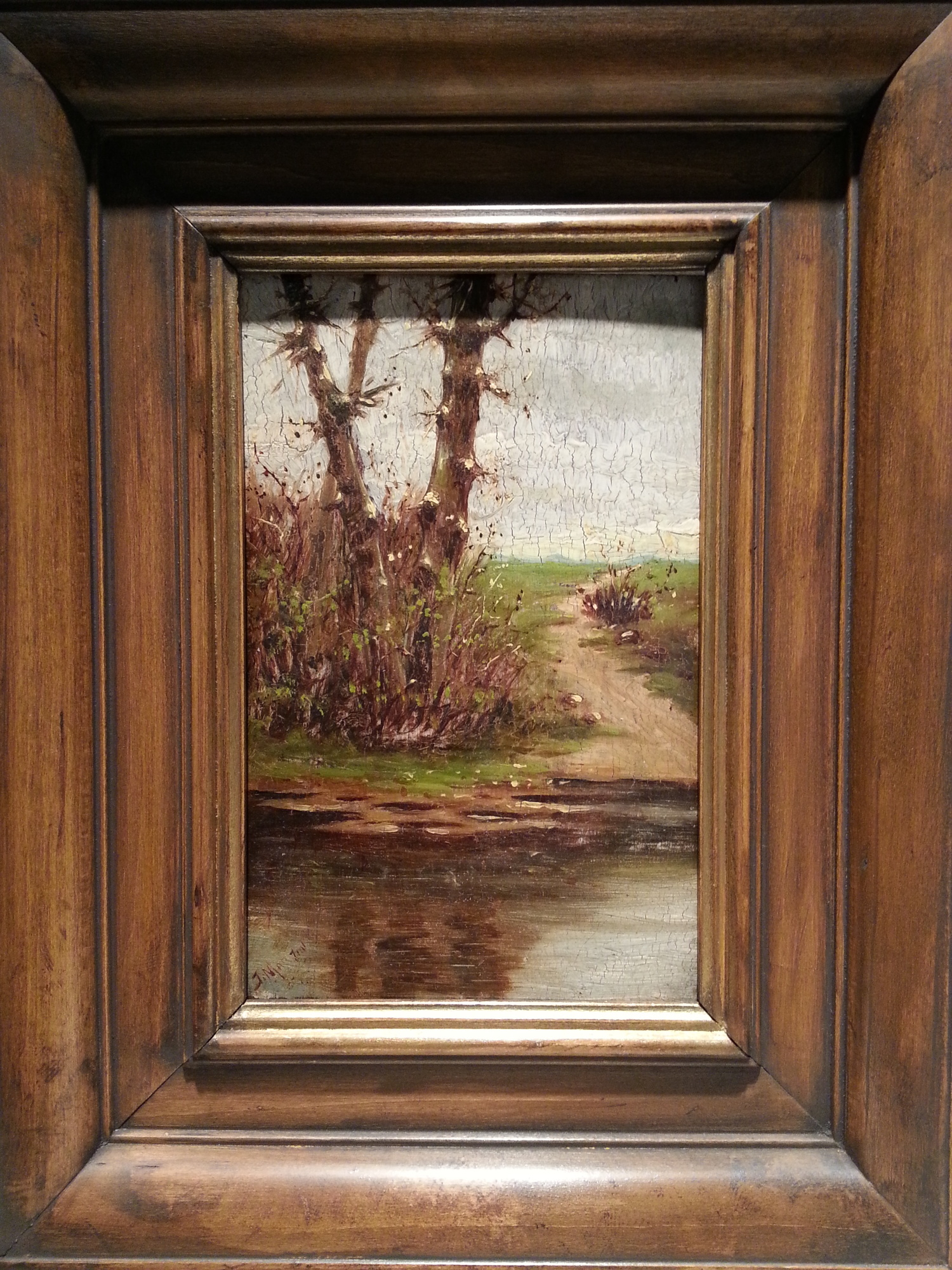 Antique Painting on Cuban Cigar Box Lid / Plasteel Frame    Signed by Untraceable Artist, J. Martin    $1,250 - 30% = $875