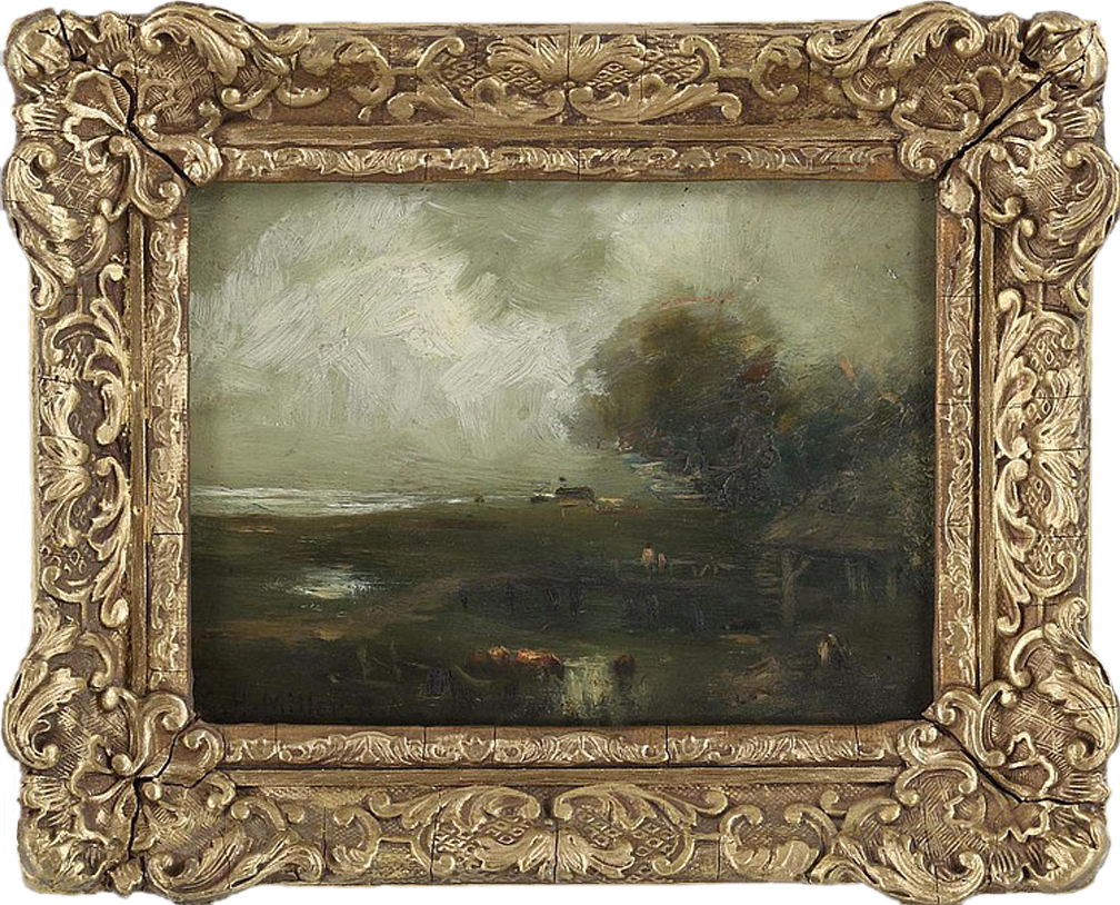 """Charles Henry Miller (American, 1842-1922)     Coastal Landscape     Oil on Panel    5"""" x 7"""" / 8"""" x 10"""" Overall / Original Antique Frame    SOLD      BIOGRAPHY   Charles Henry Miller was a noted artist and painter of landscapes from Long Island, New York. The American poet Bayard Taylor called him, """"The artistic discoverer of the little continent of Long Island.""""  Miller was educated at Mount Washington Collegiate Institute, and graduated in medicine at the New York Homeopathic Institute in 1864. Before his graduation, he had occasionally painted pictures, and in 1860 he exhibited  The Challenge Accepted  at the National Academy of Design, in New York City.  He lived in Queens at the summer estate, Queenslawn, originally purchased by his parents. He went abroad in 1864 and again in 1867, and was a pupil in the Bavarian Royal Academy at Munich under the instruction of Adolf Lier.  After the 1874 death of his father, Jacob Miller, who was a wealthy architect and builder, Miller received a large inheritance that allowed him to paint as an independent artist for the remainder of his long life. He worked seriously and exhibited regularly, including at international exhibitions.  The majority of his oil paintings depict Long Island subjects, especially those in and around Queens Village. Fed up with the development of the eastern part of Queens (present-day Nassau County), he began to spend part of his summers in East Marion, Long Island, c. 1910. Here he spent his time sketching and painting the surrounding areas.  In 1885 he published  The Philosophy of Art in America , using the pseudonym Carl De Muldor (he was descended from the De Muldor family).  His work was recognized: in 1873, he was elected an associate of the National Academy of Design and an academician in 1875. He served as president of the New York Art Club in 1879 and of the American Committee at the Munich International Exposition in 1883.  Legacy and honors • In 1910 Miller founded the Queens Borough Alli"""