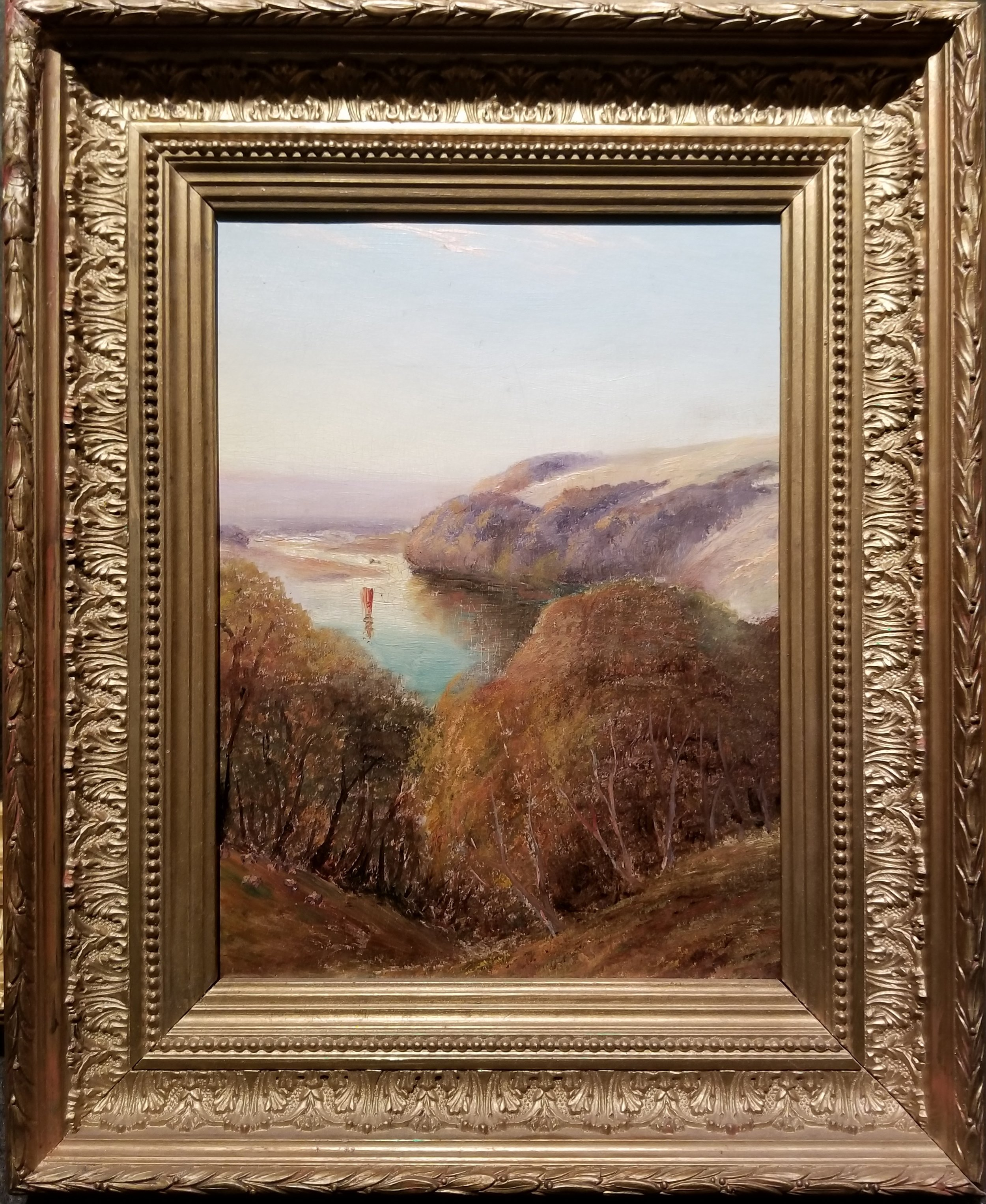 """Antique Hudson River School Painting, Unsigned / Antique Frame    9 3/4"""" x 7 1/2"""" / 13 3/4"""" x 11 1/2"""" Overall    $1,500 - 50% = $750"""