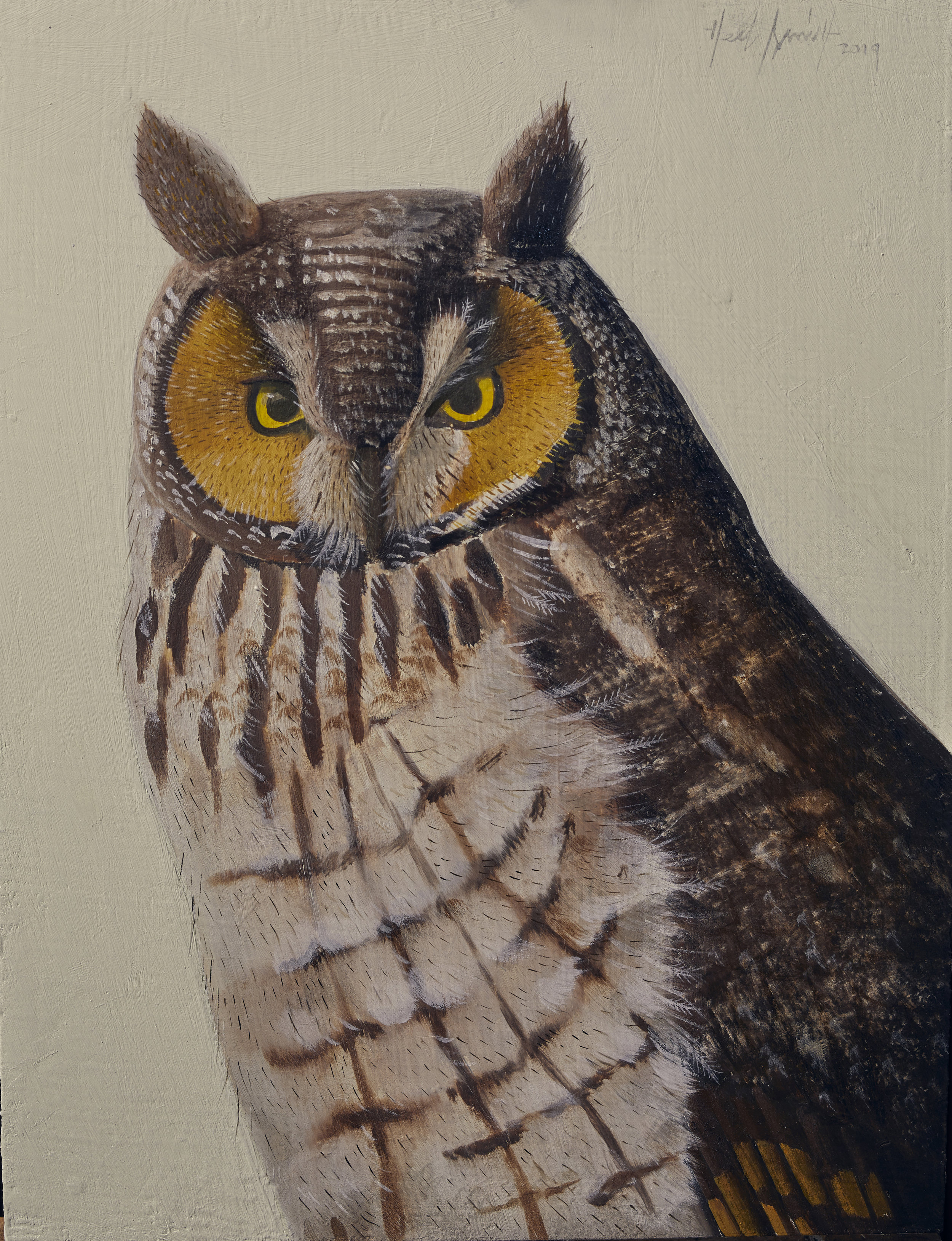 """Herb Smith (American, b. 1981)     Long Earred Owl  (2019)    Oil on Wood    12"""" x 9""""    SOLD"""