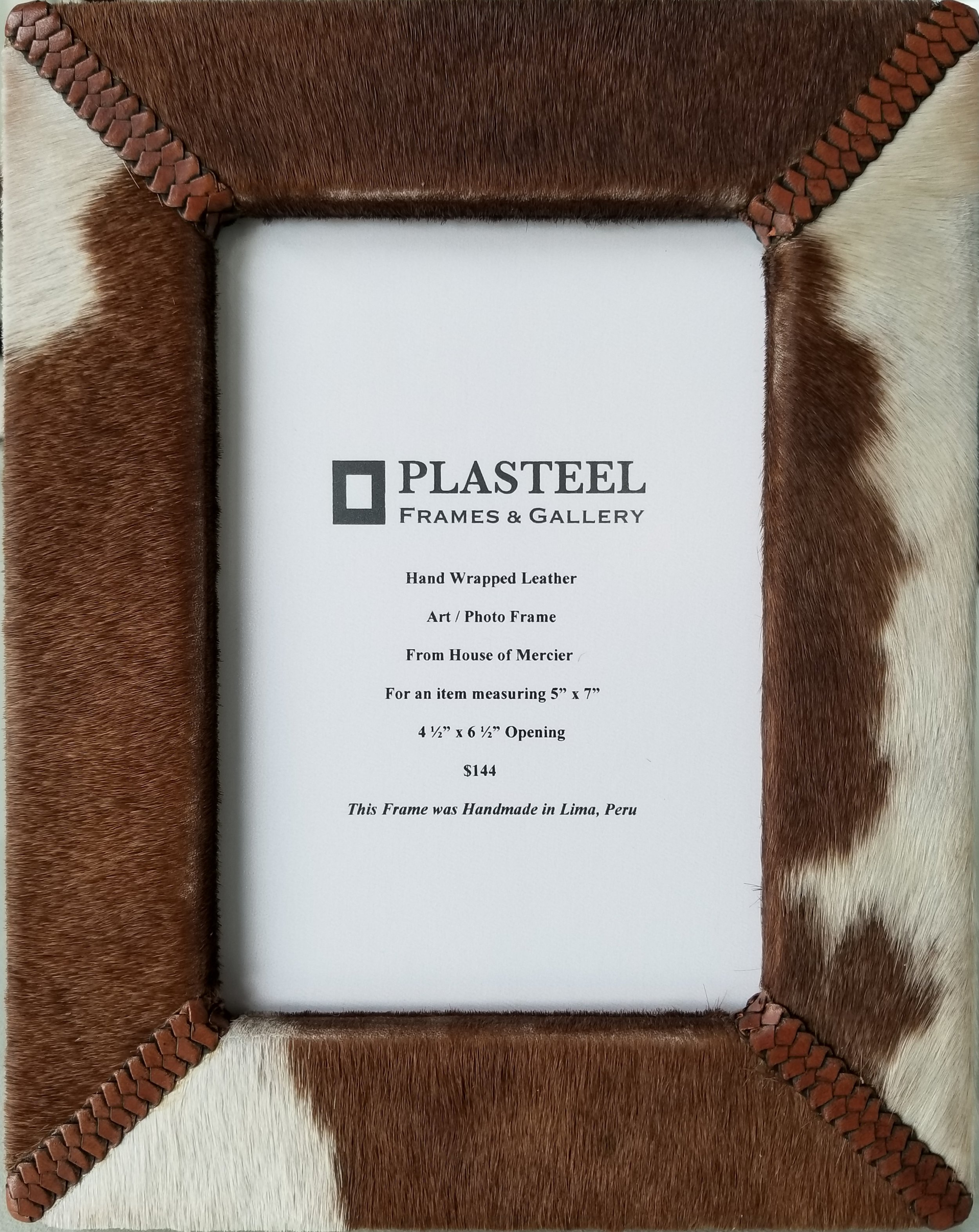"""House of Mercier / Photo Frame with All Leather Easel Back  For an item measuring 5"""" x 7""""  $144"""