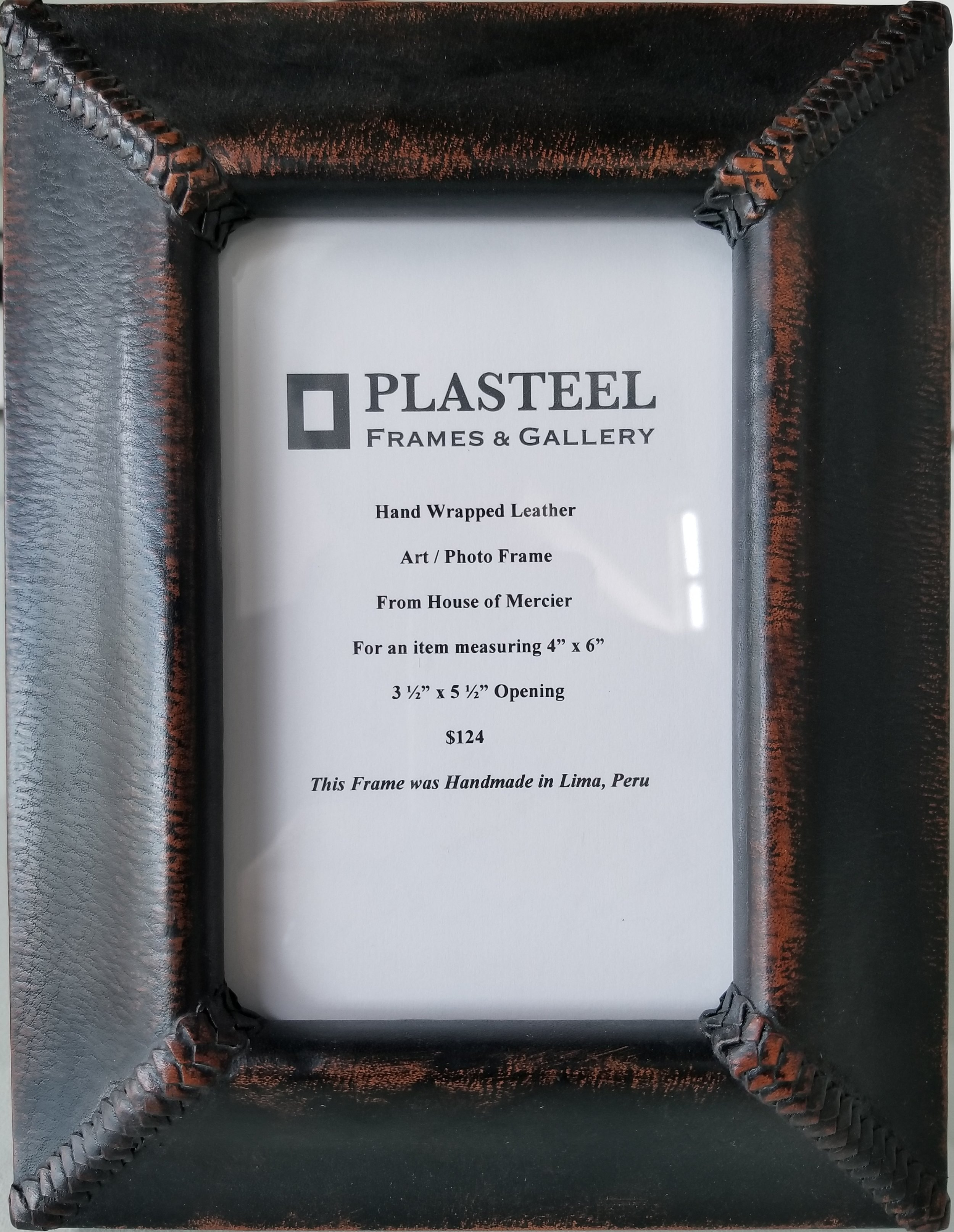 """House of Mercier / Photo Frame with All Leather Easel Back  For an item measuring 4"""" x 6""""  $124"""