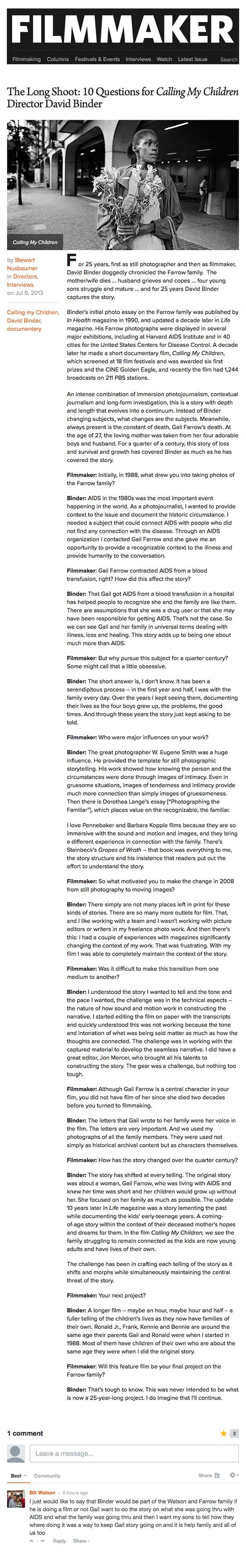 Filmmaker Magazine Interview with David Binder